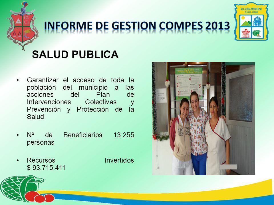 SALUD PUBLICA Garantizar el acceso de toda la población del municipio a las acciones del Plan de Intervenciones Colectivas y Prevención y Protección de la Salud Nº de Beneficiarios 13.255 personas Recursos Invertidos $ 93.715.411