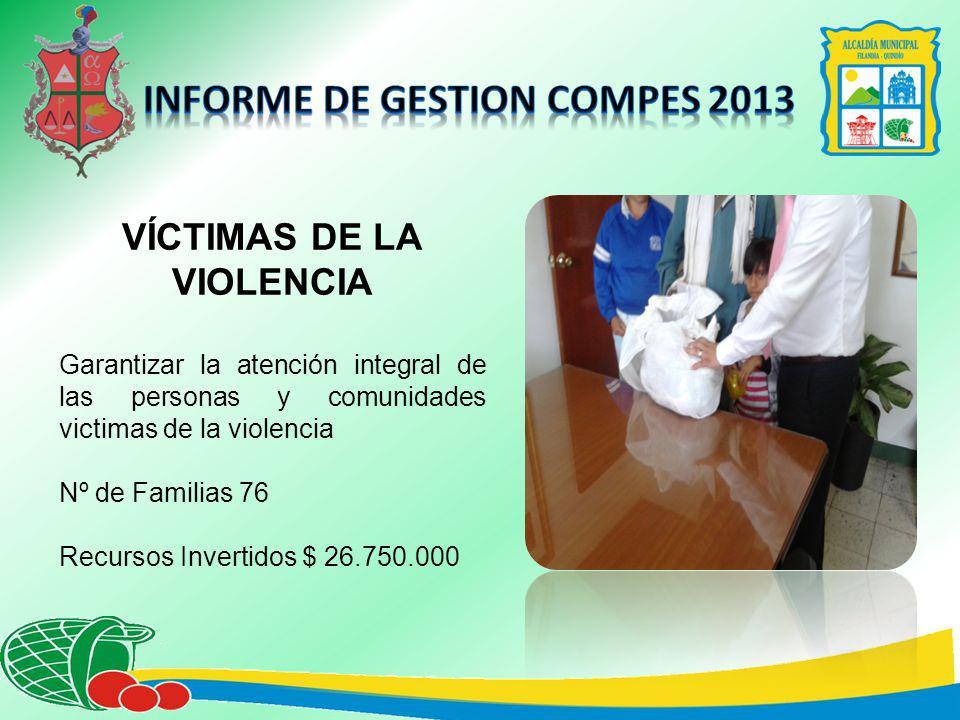 VÍCTIMAS DE LA VIOLENCIA Garantizar la atención integral de las personas y comunidades victimas de la violencia Nº de Familias 76 Recursos Invertidos $ 26.750.000