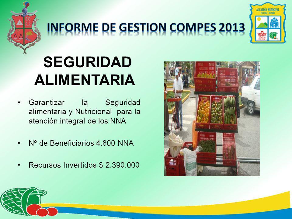 SEGURIDAD ALIMENTARIA Garantizar la Seguridad alimentaria y Nutricional para la atención integral de los NNA Nº de Beneficiarios 4.800 NNA Recursos Invertidos $ 2.390.000