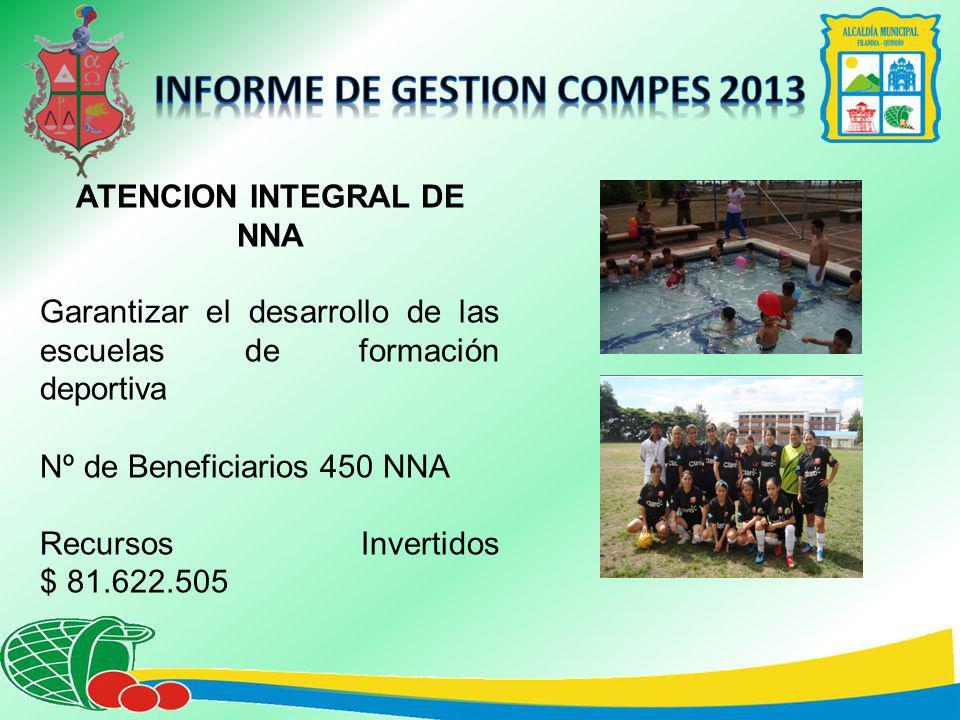 ATENCION INTEGRAL DE NNA Garantizar el desarrollo de las escuelas de formación deportiva Nº de Beneficiarios 450 NNA Recursos Invertidos $ 81.622.505