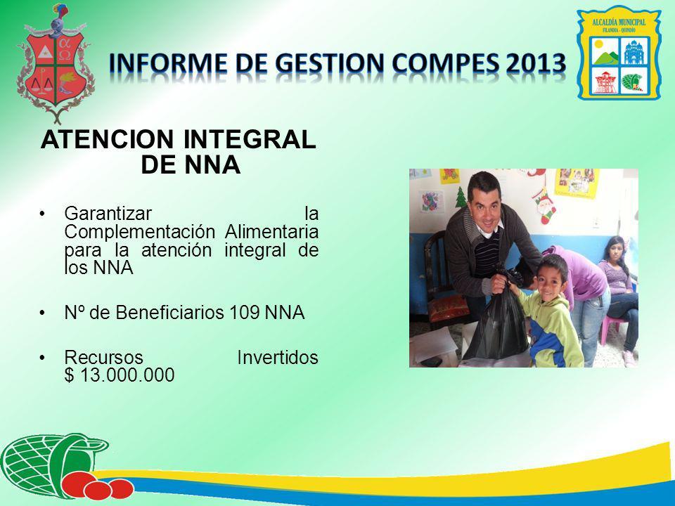 ATENCION INTEGRAL DE NNA Garantizar la Complementación Alimentaria para la atención integral de los NNA Nº de Beneficiarios 109 NNA Recursos Invertidos $ 13.000.000