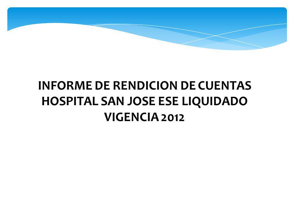 INFORME DE RENDICION DE CUENTAS HOSPITAL SAN JOSE ESE LIQUIDADO VIGENCIA 2012 Funcionario: Mónica Viviana España Pantoja