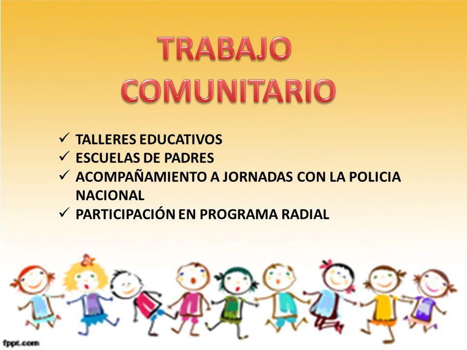 TALLERES EDUCATIVOS ESCUELAS DE PADRES ACOMPAÑAMIENTO A JORNADAS CON LA POLICIA NACIONAL PARTICIPACIÓN EN PROGRAMA RADIAL