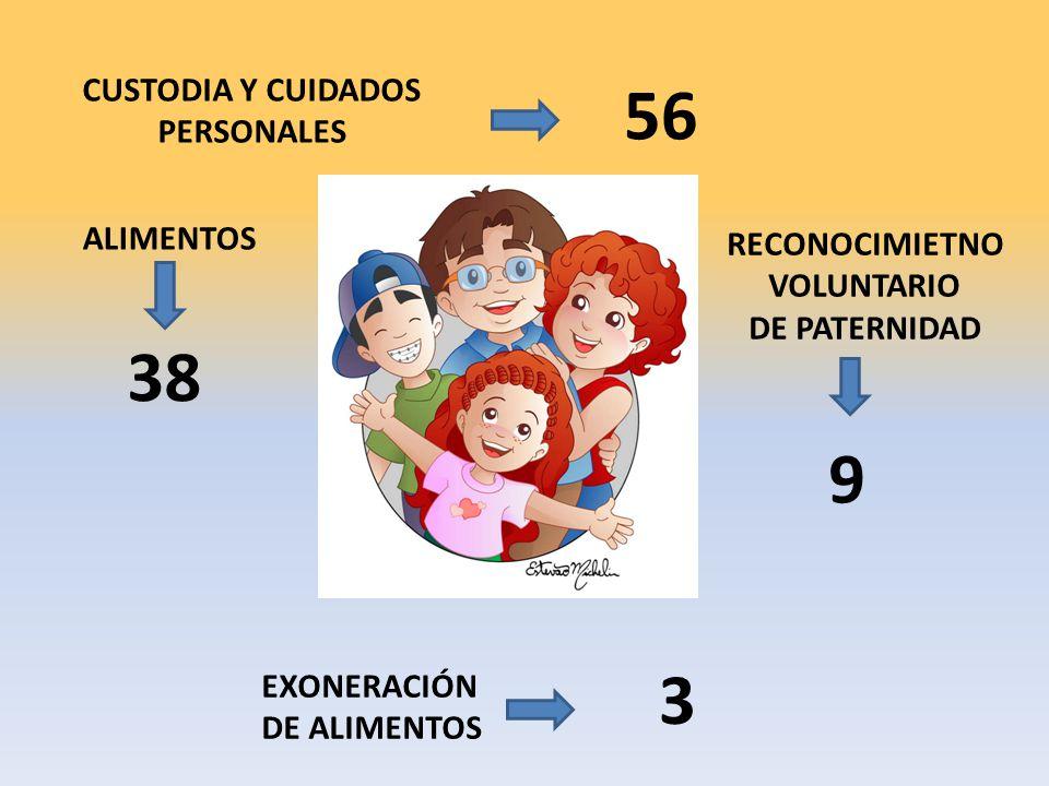 CUSTODIA Y CUIDADOS PERSONALES 56 ALIMENTOS 38 RECONOCIMIETNO VOLUNTARIO DE PATERNIDAD 9 EXONERACIÓN DE ALIMENTOS 3
