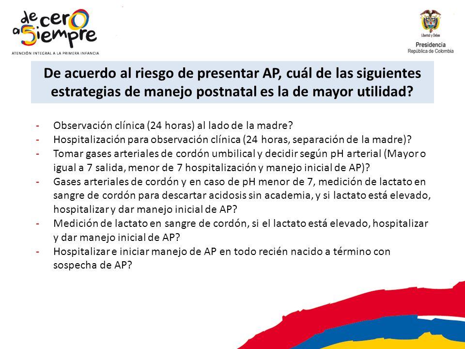 -Observación clínica (24 horas) al lado de la madre? -Hospitalización para observación clínica (24 horas, separación de la madre)? -Tomar gases arteri