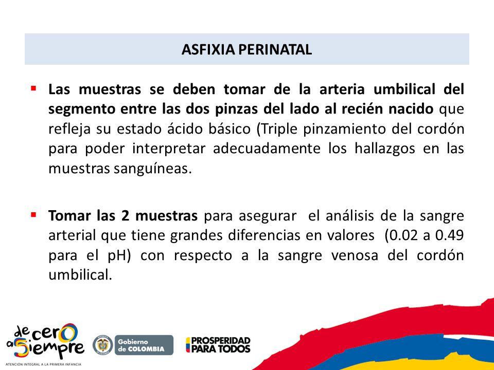 Las muestras se deben tomar de la arteria umbilical del segmento entre las dos pinzas del lado al recién nacido que refleja su estado ácido básico (Tr