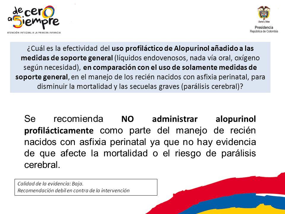 ¿Cuál es la efectividad del uso profiláctico de Alopurinol añadido a las medidas de soporte general (líquidos endovenosos, nada vía oral, oxígeno segú