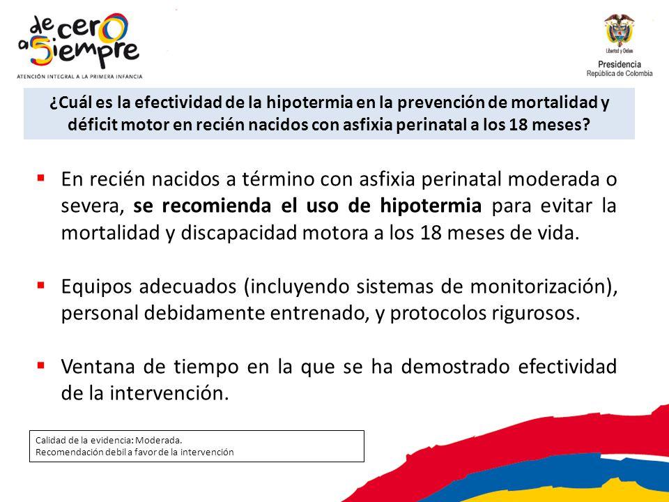 ¿Cuál es la efectividad de la hipotermia en la prevención de mortalidad y déficit motor en recién nacidos con asfixia perinatal a los 18 meses? En rec
