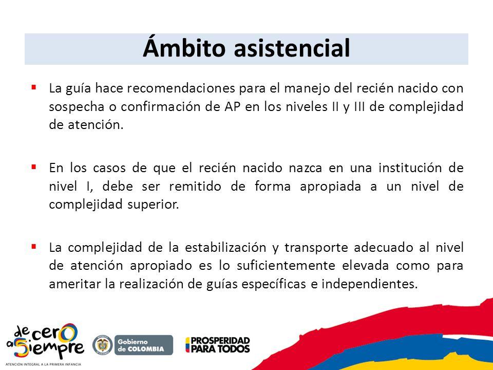 Ámbito asistencial La guía hace recomendaciones para el manejo del recién nacido con sospecha o confirmación de AP en los niveles II y III de compleji
