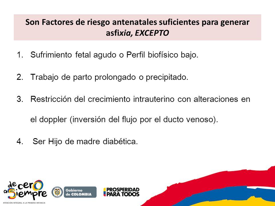 Los eventos significativos o centinela de asfixia son: - Ruptura uterina - Abrupcio de placenta - Prolapso del cordón - Embolo de líquido amniótico - Arresto cardiopulmonar materno Factores de riesgo antenatales suficientes para generar asfixia: Sufrimiento fetal agudo definido como alteraciones en la monitoría fetal prenatal o presencia de bradicardia fetal confirmada por cualquier método (auscultación, doppler) Perfil biofísico bajo Presencia de meconio en el líquido amniótico Restricción del crecimiento intrauterino con alteraciones en el doppler (inversión del flujo por el ducto venoso) Circular apretada del cordón Placenta previa sangrante Trabajo de parto prolongado o precipitado Alteración de la contractilidad uterina: hipotonía o hipertonía uterina Embarazos múltiples