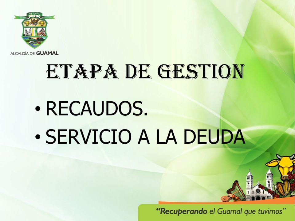ETAPA DE GESTION RECAUDOS. SERVICIO A LA DEUDA
