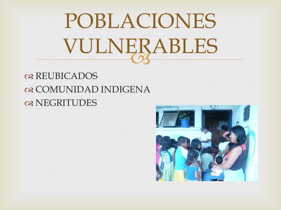 REUBICADOS COMUNIDAD INDIGENA NEGRITUDES POBLACIONES VULNERABLES