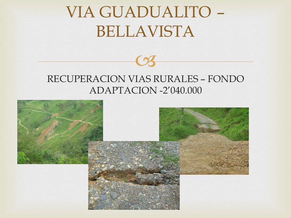 VIA GUADUALITO – BELLAVISTA RECUPERACION VIAS RURALES – FONDO ADAPTACION -2040.000