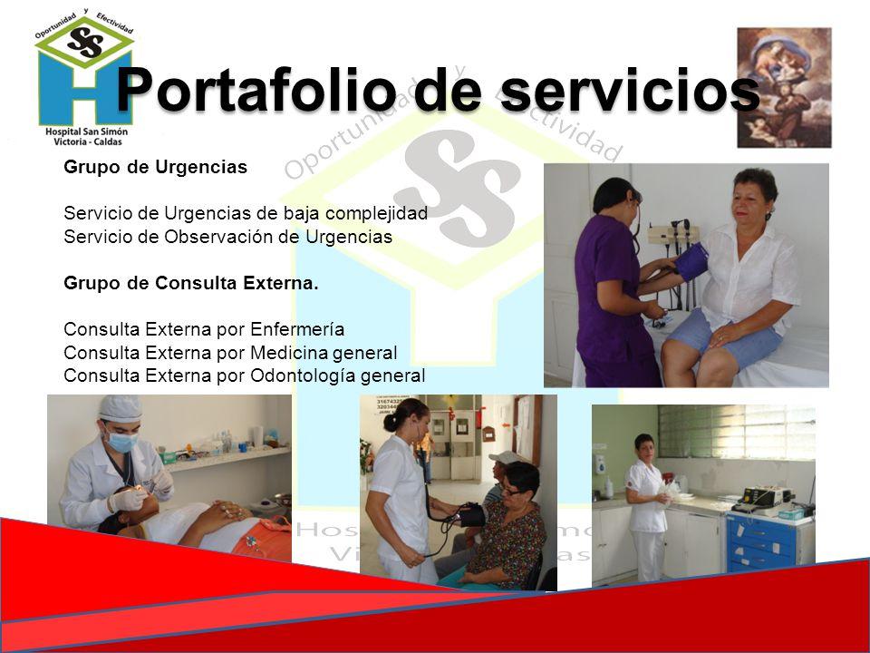 Grupo de Urgencias Servicio de Urgencias de baja complejidad Servicio de Observación de Urgencias Grupo de Consulta Externa. Consulta Externa por Enfe