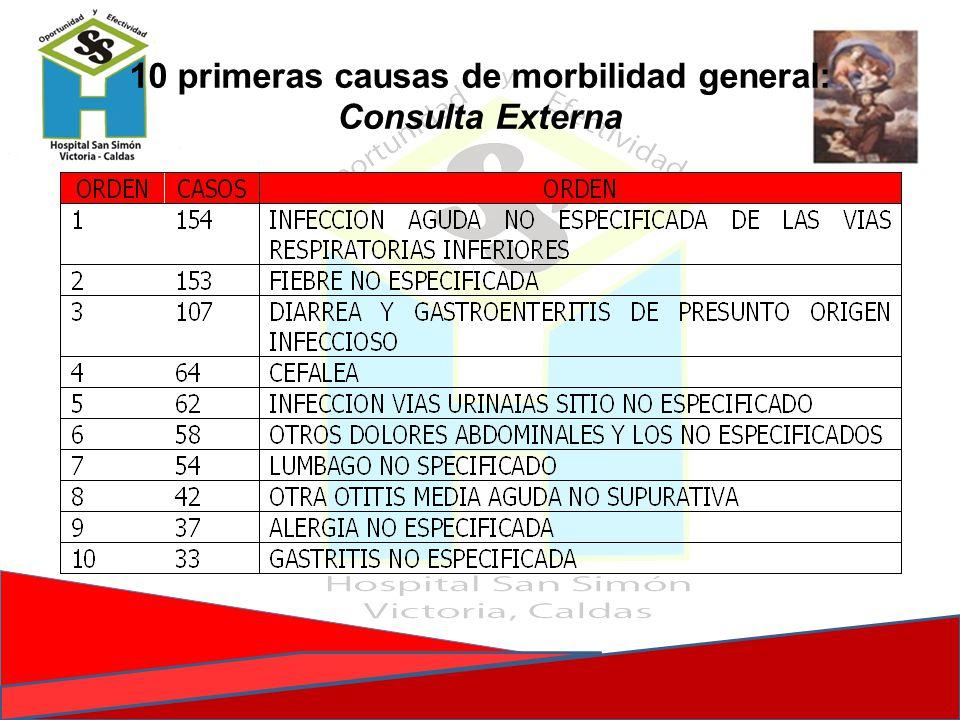 10 primeras causas de morbilidad general: Consulta Externa