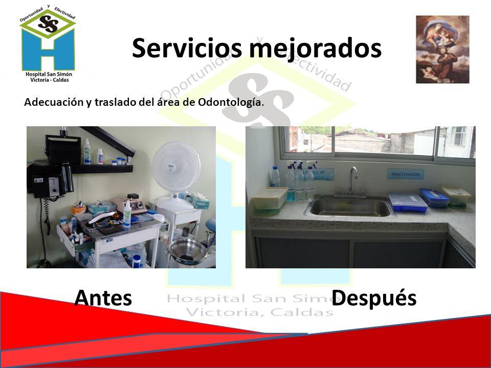 Adecuación y traslado del área de Odontología. AntesDespués Servicios mejorados
