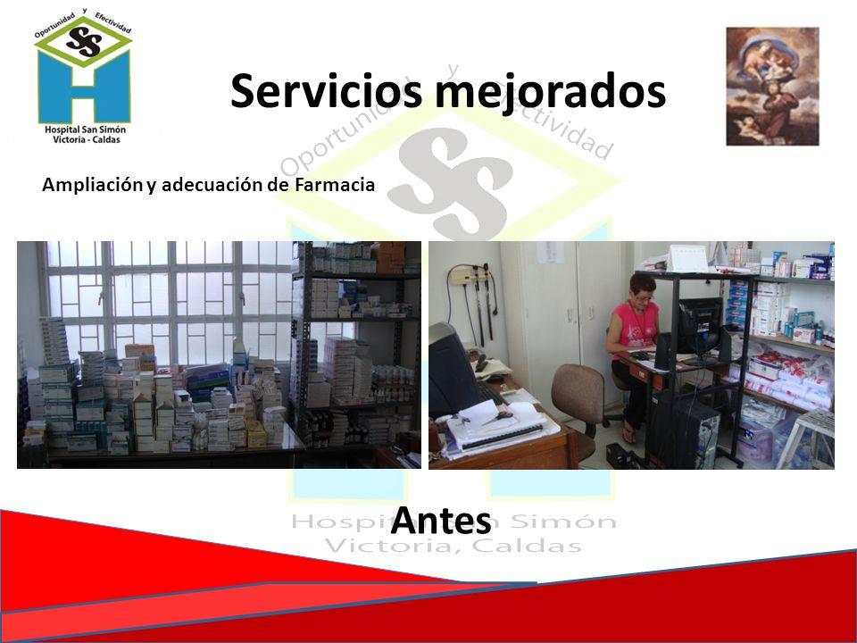 Ampliación y adecuación de Farmacia Antes Servicios mejorados