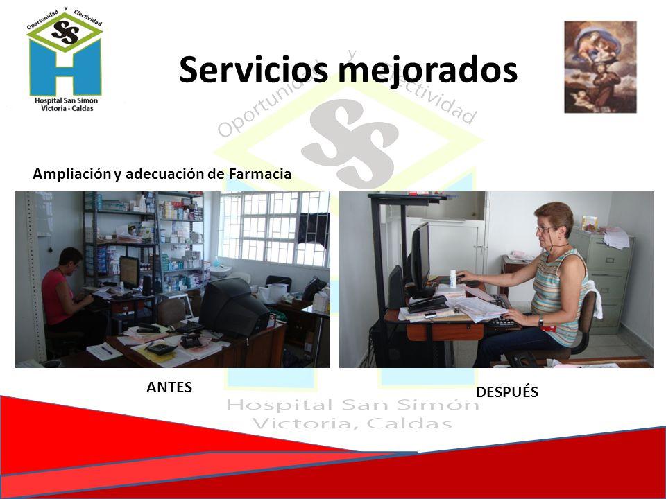 Ampliación y adecuación de Farmacia ANTES DESPUÉS Servicios mejorados