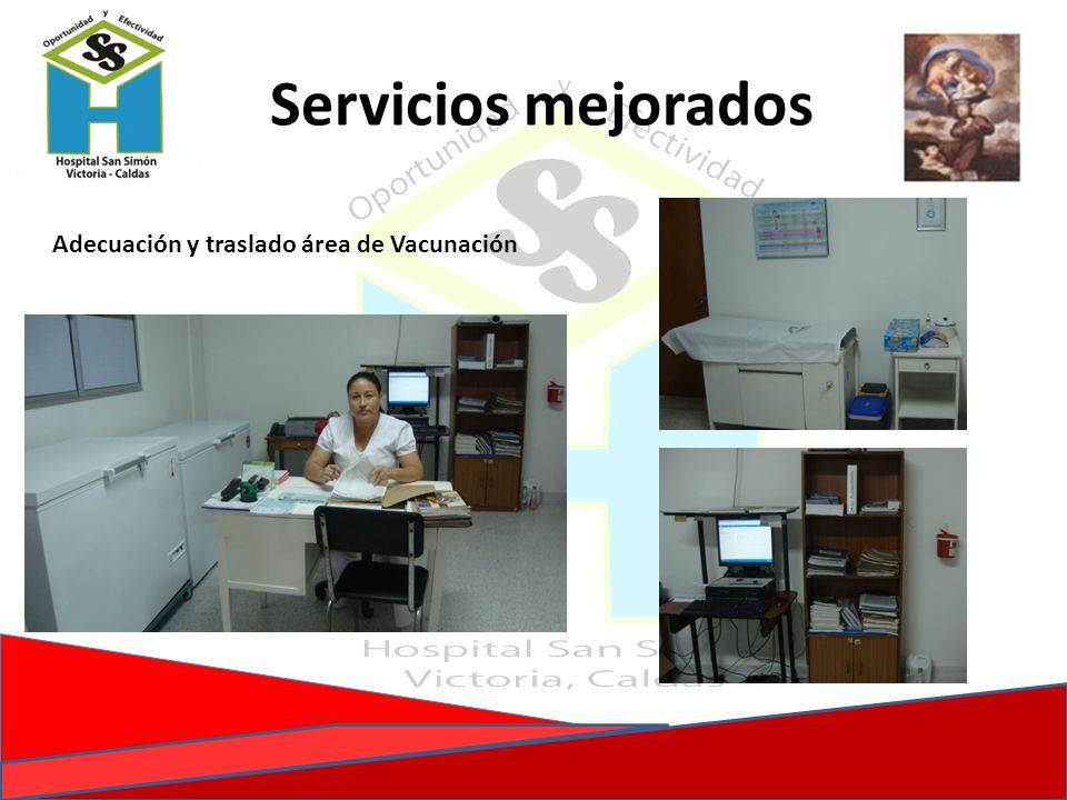 Adecuación y traslado área de Vacunación Servicios mejorados