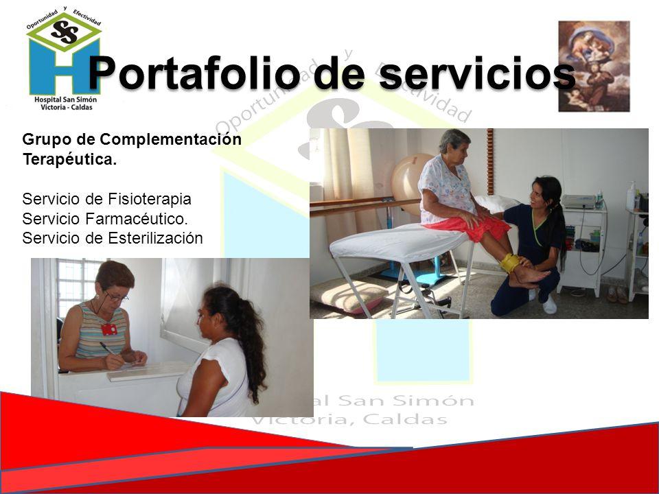 Portafolio de servicios Grupo de Complementación Terapéutica. Servicio de Fisioterapia Servicio Farmacéutico. Servicio de Esterilización