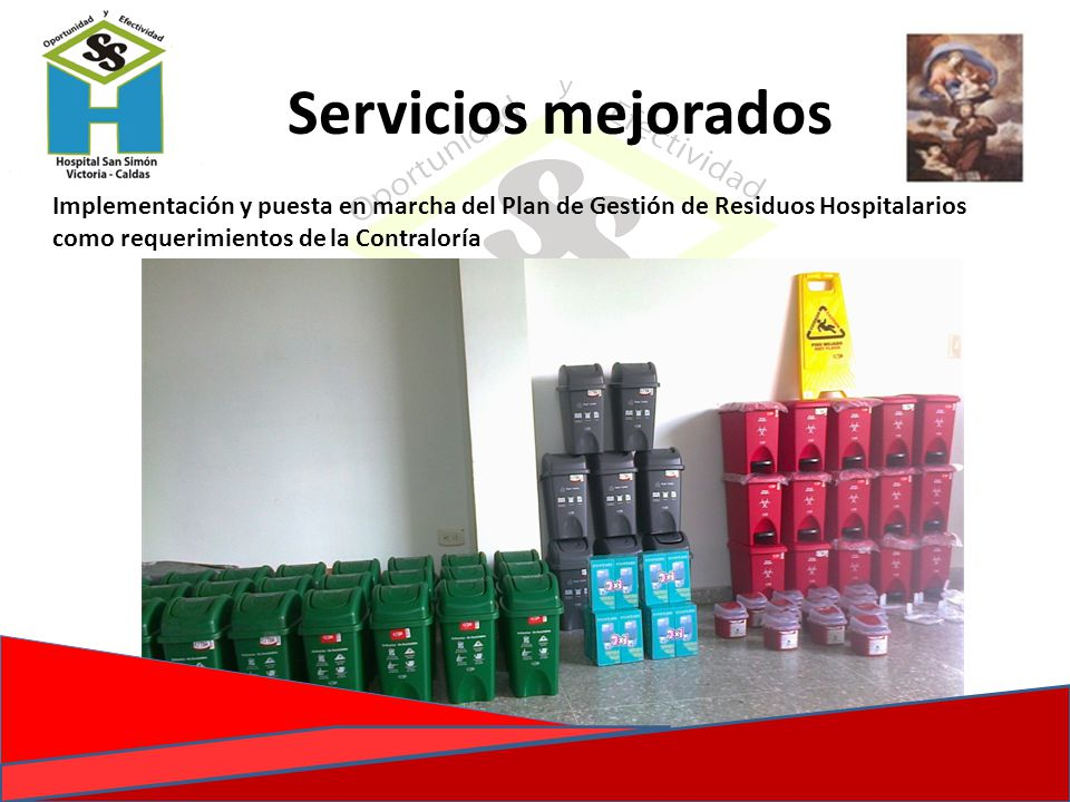 Implementación y puesta en marcha del Plan de Gestión de Residuos Hospitalarios como requerimientos de la Contraloría Servicios mejorados