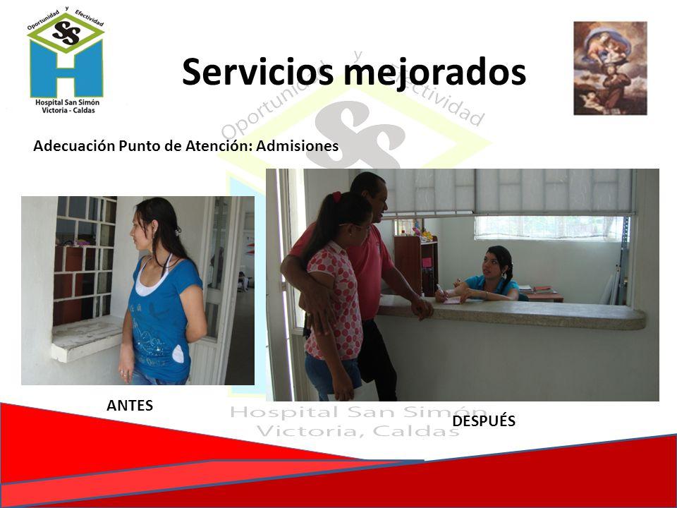 Adecuación Punto de Atención: Admisiones ANTES Servicios mejorados DESPUÉS