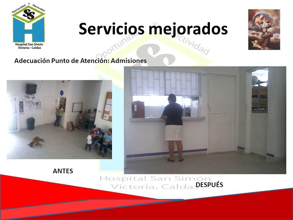 Adecuación Punto de Atención: Admisiones DESPUÉS Servicios mejorados ANTES