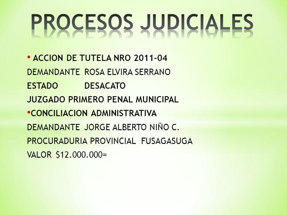 ACCION DE TUTELA NRO 2011-04 DEMANDANTEROSA ELVIRA SERRANO ESTADO DESACATO JUZGADO PRIMERO PENAL MUNICIPAL CONCILIACION ADMINISTRATIVA DEMANDANTE JORGE ALBERTO NIÑO C.