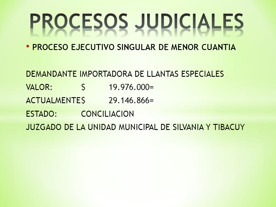 PROCESO EJECUTIVO SINGULAR DE MENOR CUANTIA DEMANDANTE IMPORTADORA DE LLANTAS ESPECIALES VALOR:$19.976.000= ACTUALMENTE$29.146.866= ESTADO:CONCILIACION JUZGADO DE LA UNIDAD MUNICIPAL DE SILVANIA Y TIBACUY