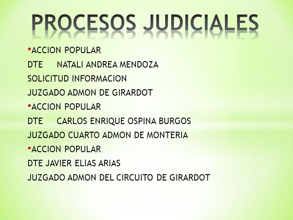 ACCION POPULAR DTENATALI ANDREA MENDOZA SOLICITUD INFORMACION JUZGADO ADMON DE GIRARDOT ACCION POPULAR DTECARLOS ENRIQUE OSPINA BURGOS JUZGADO CUARTO ADMON DE MONTERIA ACCION POPULAR DTE JAVIER ELIAS ARIAS JUZGADO ADMON DEL CIRCUITO DE GIRARDOT