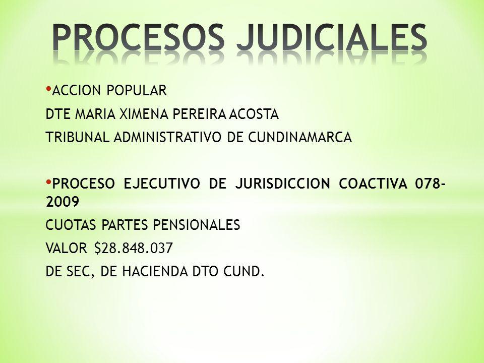 ACCION POPULAR DTE MARIA XIMENA PEREIRA ACOSTA TRIBUNAL ADMINISTRATIVO DE CUNDINAMARCA PROCESO EJECUTIVO DE JURISDICCION COACTIVA 078- 2009 CUOTAS PARTES PENSIONALES VALOR$28.848.037 DE SEC, DE HACIENDA DTO CUND.