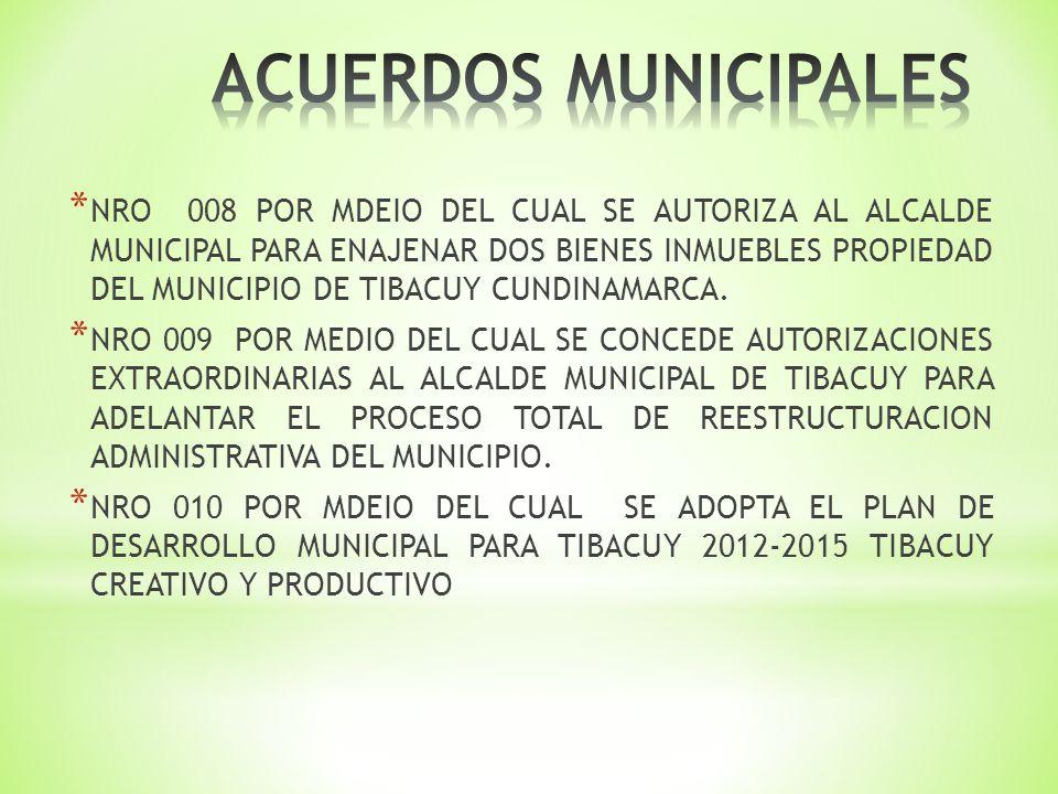 * NRO 008 POR MDEIO DEL CUAL SE AUTORIZA AL ALCALDE MUNICIPAL PARA ENAJENAR DOS BIENES INMUEBLES PROPIEDAD DEL MUNICIPIO DE TIBACUY CUNDINAMARCA.