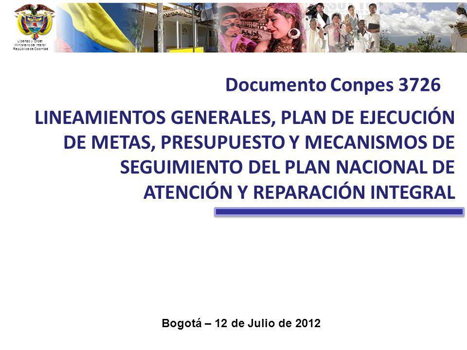 Libertad y Orden Ministerio del Interior República de Colombia Bogotá – 12 de Julio de 2012 LINEAMIENTOS GENERALES, PLAN DE EJECUCIÓN DE METAS, PRESUP