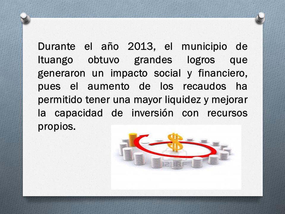 Durante el año 2013, el municipio de Ituango obtuvo grandes logros que generaron un impacto social y financiero, pues el aumento de los recaudos ha pe