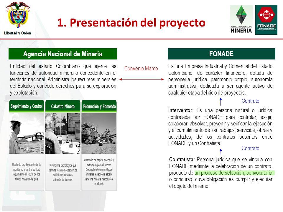 1. Presentación del proyecto Agencia Nacional de MineríaFONADE Interventor: Es una persona natural o jurídica contratada por FONADE para controlar, ex