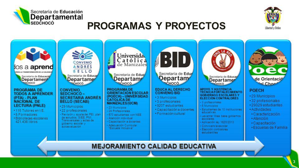 3 PROGRAMA DE TODOS A APRENDER (PTA) - PLAN NACIONAL DE LECTURA (PNLE) 115 Tutores en I.E.