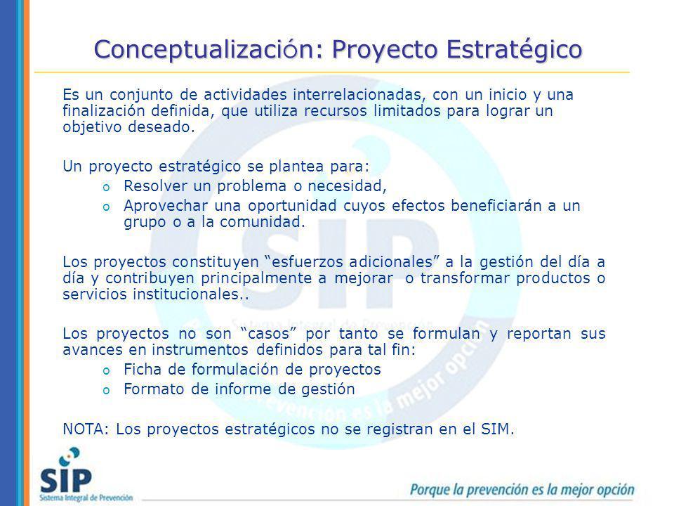 Conceptualizaci ó n: Proyecto Estratégico Es un conjunto de actividades interrelacionadas, con un inicio y una finalización definida, que utiliza recu