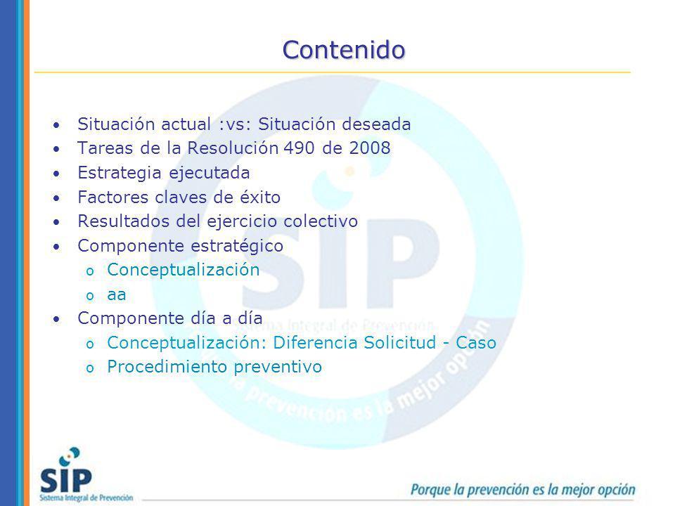 Contenido Situación actual :vs: Situación deseada Tareas de la Resolución 490 de 2008 Estrategia ejecutada Factores claves de éxito Resultados del eje