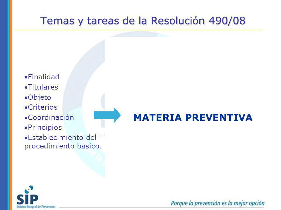 Temas y tareas de la Resolución 490/08 Finalidad Titulares Objeto Criterios Coordinación Principios Establecimiento del procedimiento básico. TAREAS F