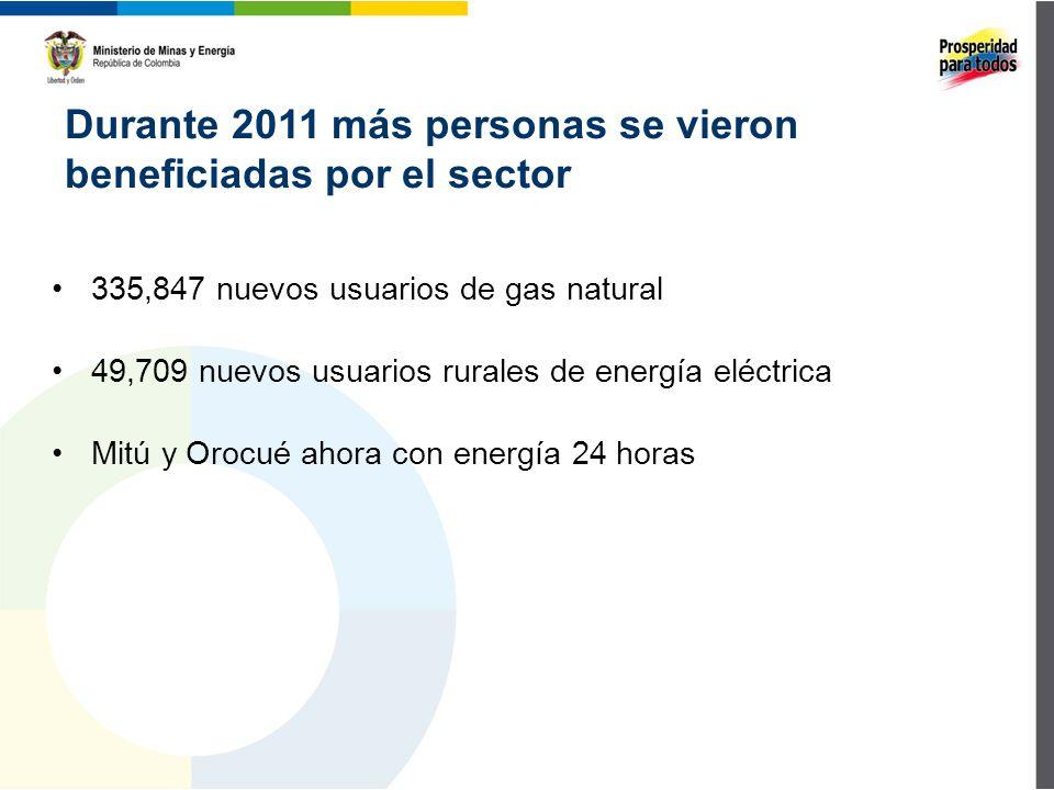 Durante 2011 más personas se vieron beneficiadas por el sector 335,847 nuevos usuarios de gas natural 49,709 nuevos usuarios rurales de energía eléctrica Mitú y Orocué ahora con energía 24 horas