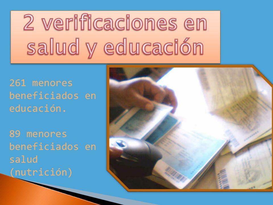 261 menores beneficiados en educación. 89 menores beneficiados en salud (nutrición)