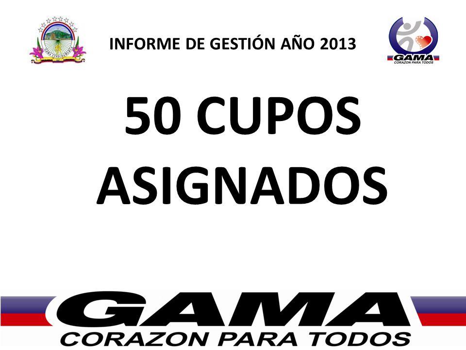 INFORME DE GESTIÓN AÑO 2013 50 CUPOS ASIGNADOS