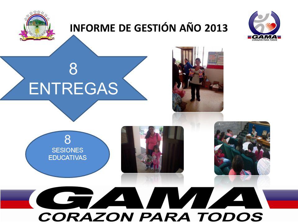 INFORME DE GESTIÓN AÑO 2013 8 ENTREGAS 8 SESIONES EDUCATIVAS