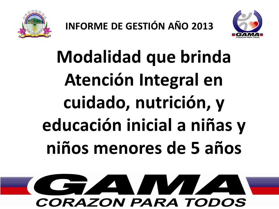 INFORME DE GESTIÓN AÑO 2013 Modalidad que brinda Atención Integral en cuidado, nutrición, y educación inicial a niñas y niños menores de 5 años