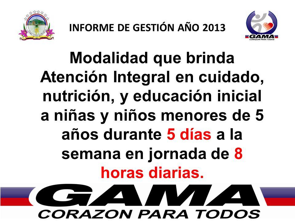 INFORME DE GESTIÓN AÑO 2013 Modalidad que brinda Atención Integral en cuidado, nutrición, y educación inicial a niñas y niños menores de 5 años durant