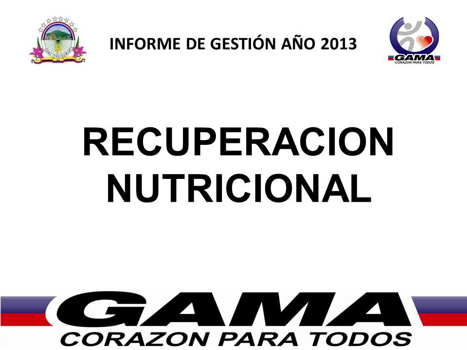 INFORME DE GESTIÓN AÑO 2013 RECUPERACION NUTRICIONAL