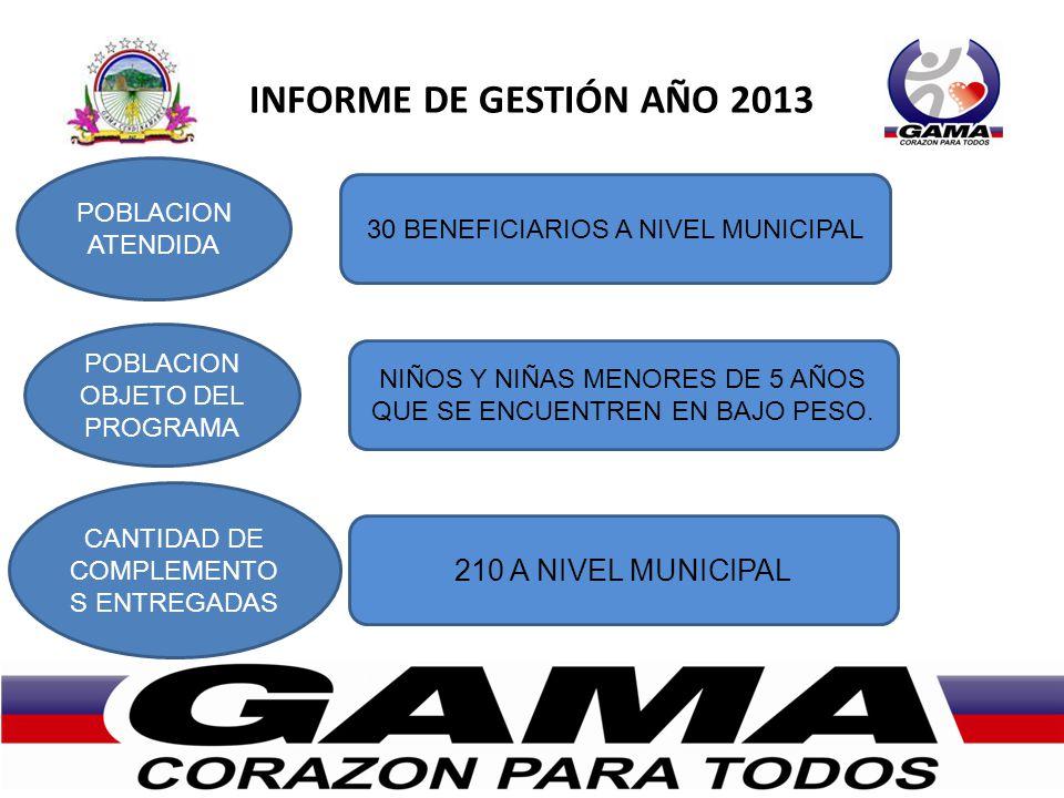 INFORME DE GESTIÓN AÑO 2013 POBLACION ATENDIDA POBLACION OBJETO DEL PROGRAMA CANTIDAD DE COMPLEMENTO S ENTREGADAS 30 BENEFICIARIOS A NIVEL MUNICIPAL N