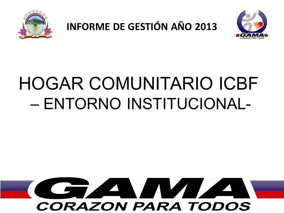 INFORME DE GESTIÓN AÑO 2013 HOGAR COMUNITARIO ICBF – ENTORNO INSTITUCIONAL-