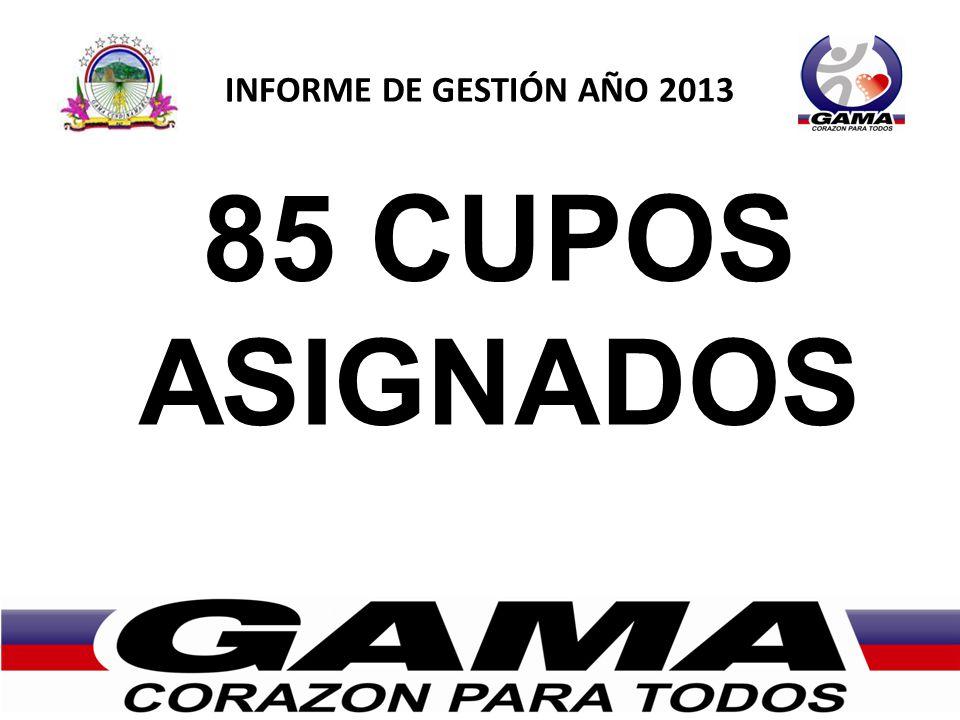 85 CUPOS ASIGNADOS