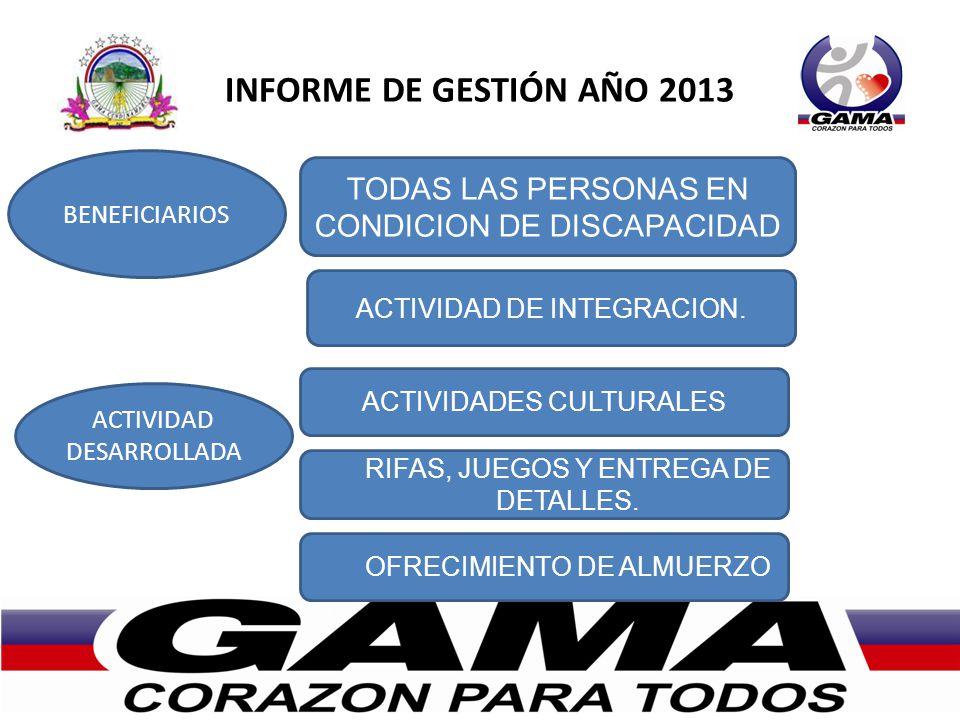 INFORME DE GESTIÓN AÑO 2013 BENEFICIARIOS ACTIVIDAD DESARROLLADA TODAS LAS PERSONAS EN CONDICION DE DISCAPACIDAD ACTIVIDAD DE INTEGRACION. ACTIVIDADES